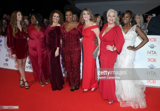 Stacey Solomon Alison Hammond Nadia Sawalha Brenda Edwards Kaye Adams Denise Welch and Kelle Bryan attend the National Television Awards 2020 at The...