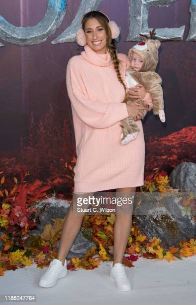 Stacey Solomon and baby son Rex attend the Frozen 2 European premiere at BFI Southbank on November 17 2019 in London England