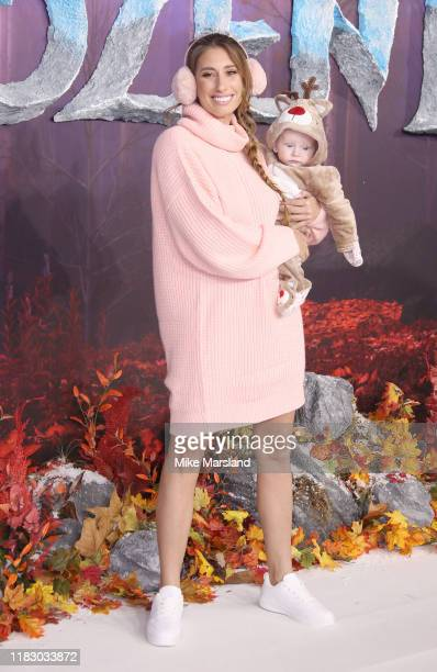 Stacey Solomon and her son Rex attend the Frozen 2 European premiere at BFI Southbank on November 17 2019 in London England