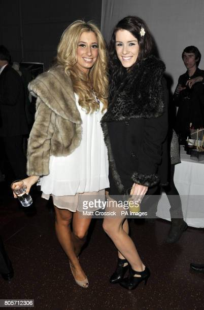 Stacey Solomon and Lucie Jones in the Tapis Rouge bar during the opening night of Varekai by the Cirque Du Soleil at Royal Albert Hall in London