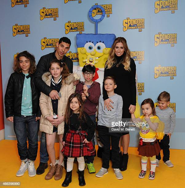 Stacey Solomon Family and Friends attends a special Mother's Day screening of 'The SpongeBob Movie Sponge Out of Water 3D' at the Ham Yard Hotel on...