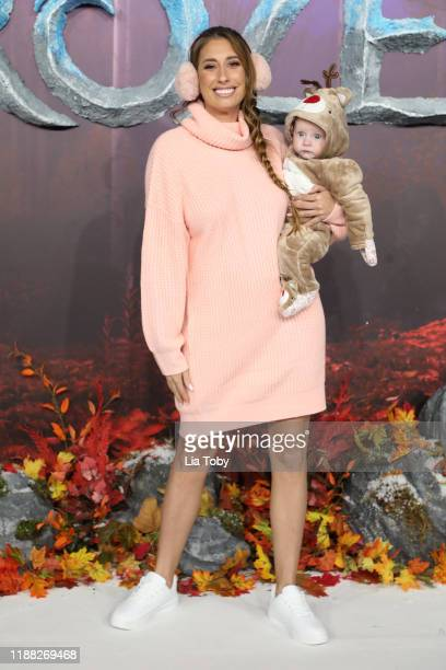 Stacey Solomon with her son Rex Swash attend the Frozen 2 European premiere at BFI Southbank on November 17 2019 in London England