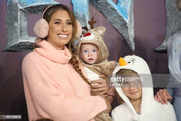 Stacey Solomon with her sons Rex Swash and Leighton Barham attend the Frozen 2 European premiere at BFI Southbank on November 17 2019 in London...