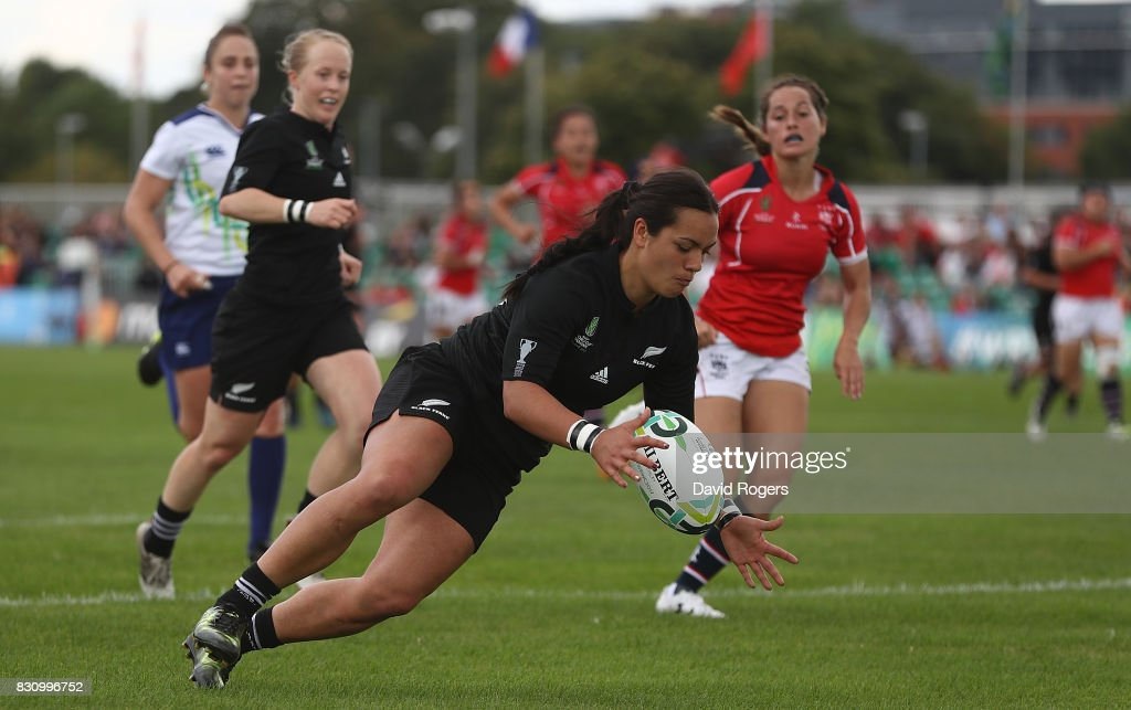 Stacey Waaka of New Zealand scores a try during the Women's Rugby World Cup 2017 match between New Zealand and Hong Kong on August 13, 2017 in Dublin, Ireland.