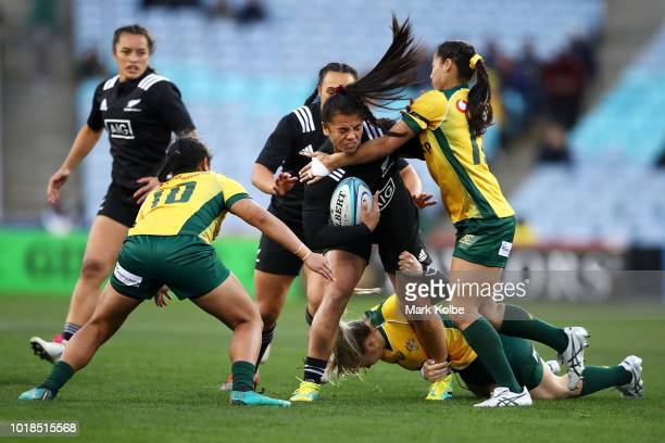 The Black Ferns celebrate scoring a try during the Women's Rugby International match between the Australian Wallaroos and New Zealand Black Ferns at...