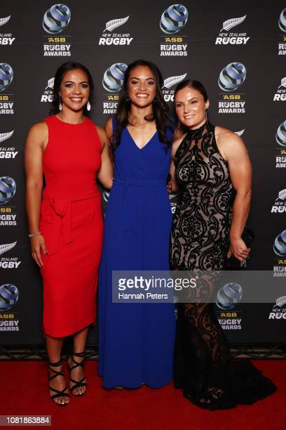 Stacey Waaka, Theresa Fitzpatrick and Michaela Blyde pose on the red carpet during the 2018 ASB Rugby Awards at SkyCity Convention Centre on December...