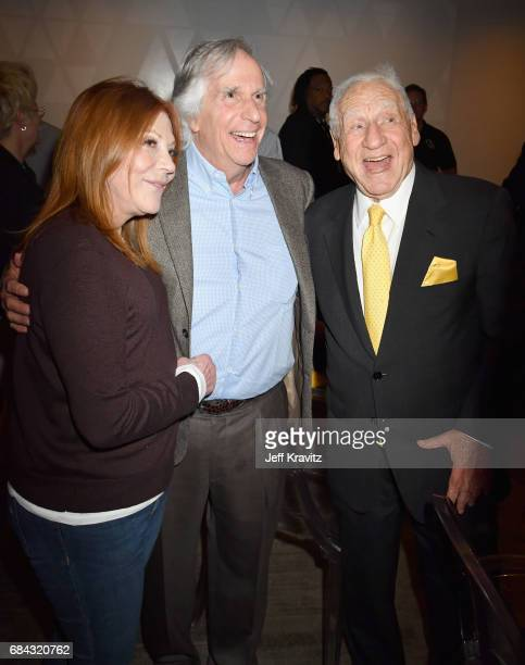 Stacey Weitzman Henry Winkler and Mel Brooks at the LA Premiere of If You're Not In The Obit Eat Breakfast from HBO Documentaries on May 17 2017 in...