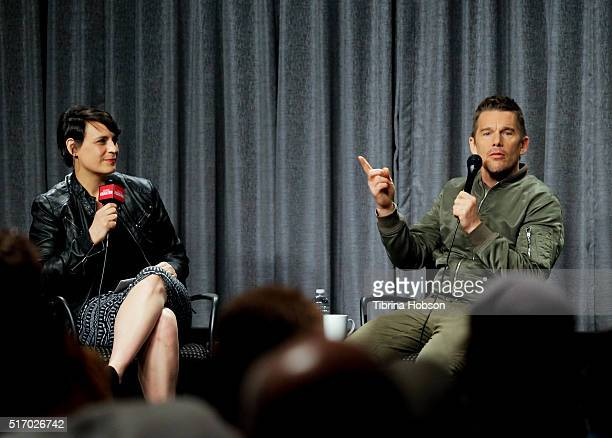 Stacey Wilson Hunt and Ethan Hawke attend the SAGAFTRA Foundation Conversations for 'Born To Be Blue' at SAGAFTRA Foundation on March 22 2016 in Los...