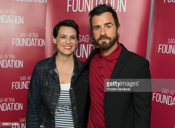 """Stacey Wilson Hunt of New York Magazine and Actor Justin Theroux attend SAG-AFTRA Foundation's Conversations with """"The Leftovers"""" at SAG-AFTRA..."""