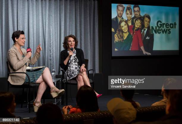 Stacey Wilson Hunt of New York Magazine and Actress Andrea Martin attend SAGAFTRA Foundation's Conversations with Great News at SAGAFTRA Foundation...