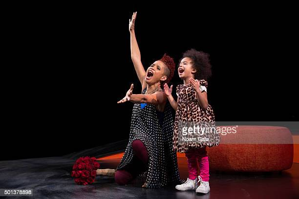 "Staceyann Chin and Missouri Chin are seen onstage during the ""MotherStruck!"" opening night at the Lynn Redgrave Theatre on December 14, 2015 in New..."