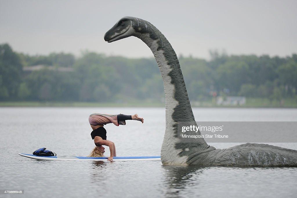 Fiberglass lake creature on Lake Calhoun : News Photo