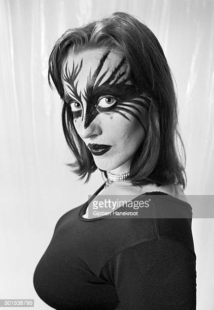 Stacia the dancer with Hawkwind, posed in Amsterdam, Netherlands in 1972.