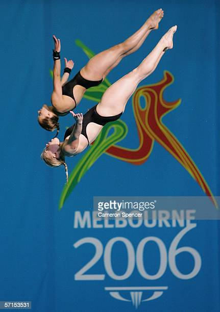 Stacie Powell and Tonia Couch of England compete in the Women's Women's Synchronised 10m Platform FinaL during the diving at the Melbourne Sports...