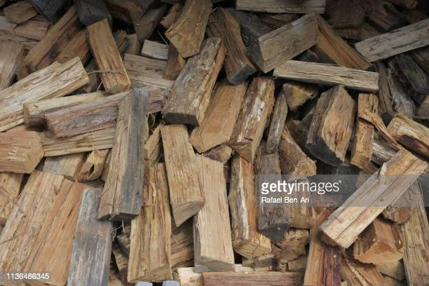 Stack firewood tree logs
