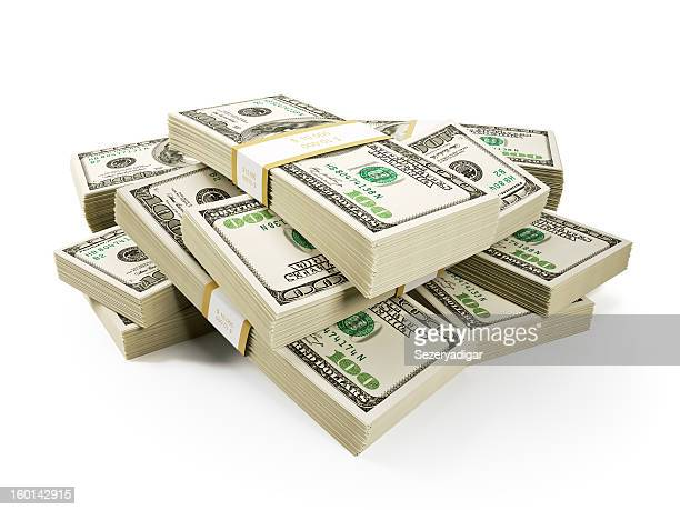 stack of $100 bills on a white background - stack stock photos and pictures