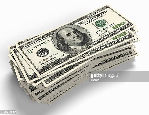 stack of 100 dollar bill paper currency - american one hundred dollar bill stock pictures, royalty-free photos & images
