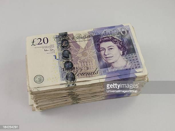 Stack of £4000 in twenty pound notes, UK.