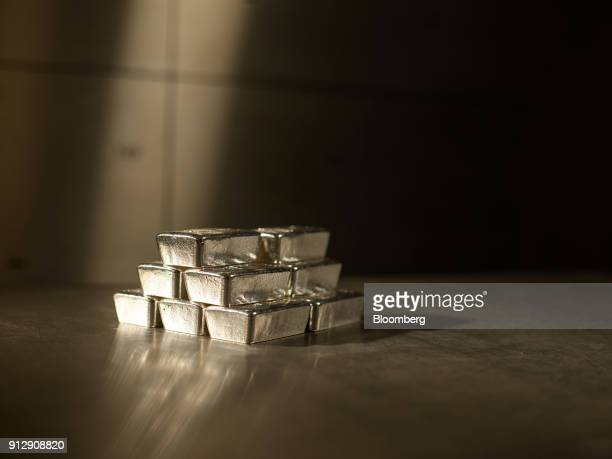 A stack of 500 gram silver bars sit in the precious metals vault at Pro Aurum KG in Munich Germany on Tuesday Jan 30 2018 Gold trading near an...