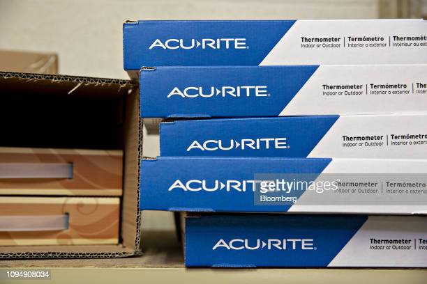 A stack of Acurite thermometers sit on a shelf in the directtoconsumer packaging area at the Primex Family of Cos facility in Lake Geneva Wisconsin...