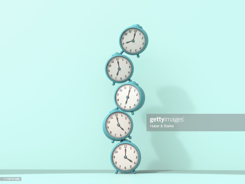 stack of alarm clocks : Stock Photo