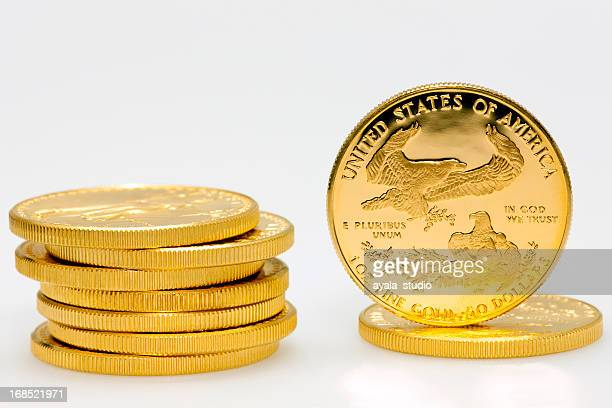 Stack of American gold dollar coins