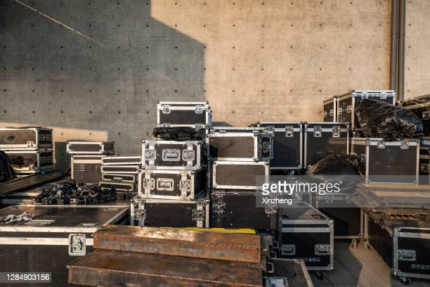 stack of audio equipment boxes - backstage stock pictures, royalty-free photos & images
