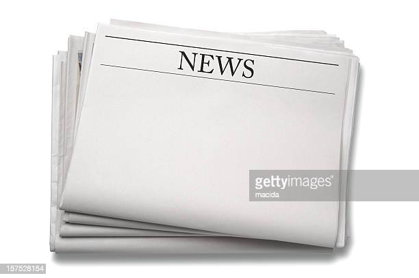 a stack of blank newspapers against a white background - front page stock photos and pictures