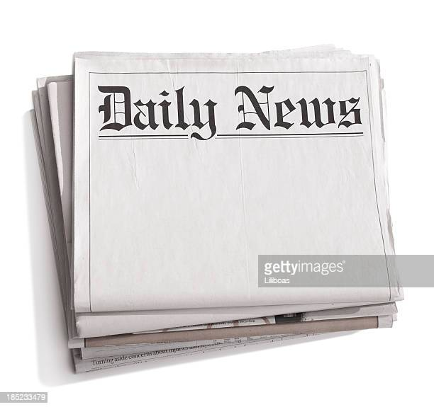 Stack of blank newspapers with title 'Daily News'