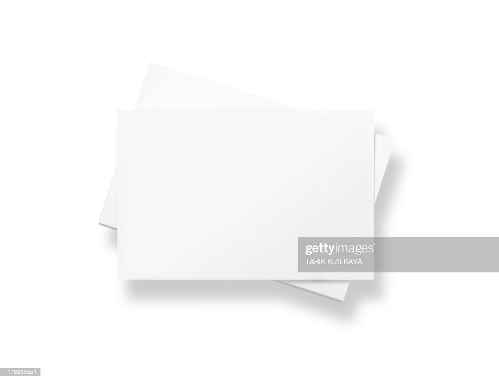 Stack of blank white business cards : Stock Photo