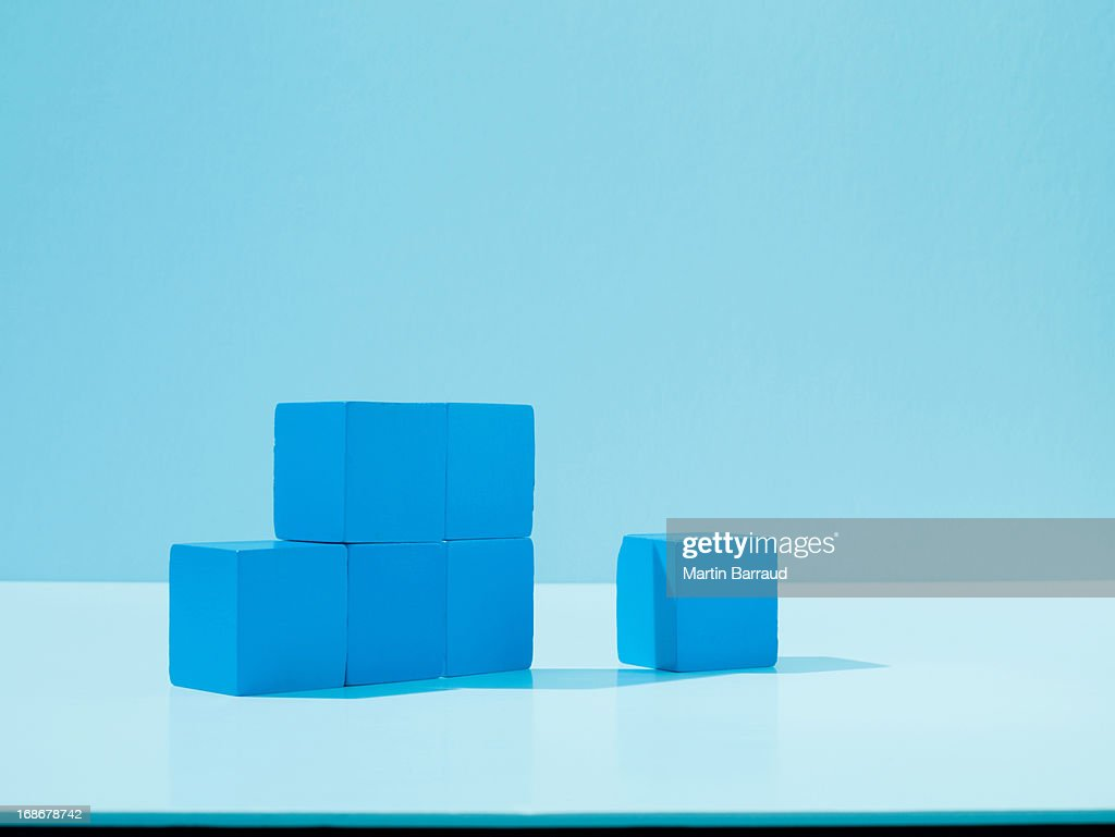 Stack of blue blocks : Stock Photo