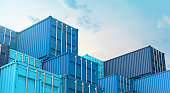 Stack of blue containers box, Cargo freight ship for import export 3D