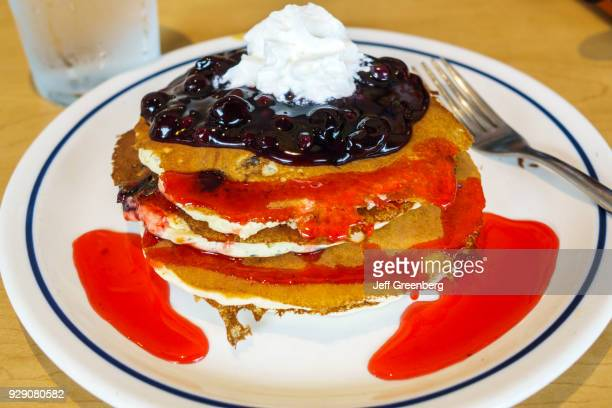 A stack of blueberry pancakes from IHOP in Naples Florida