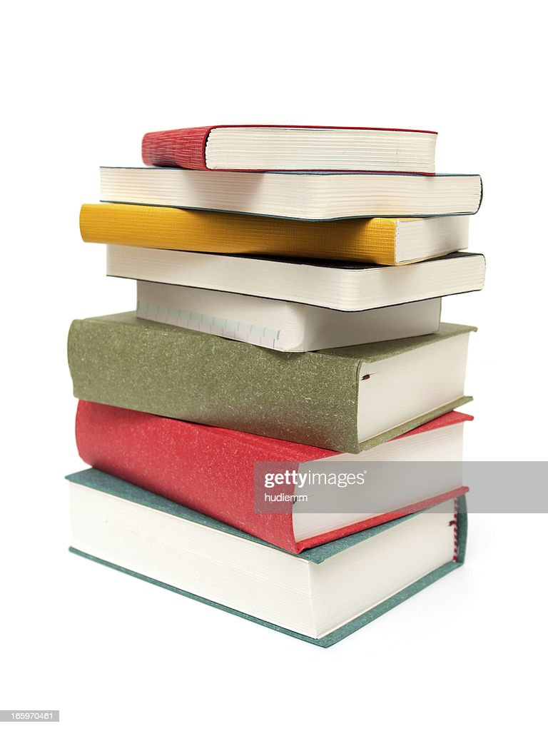 Stack of books isolated on white background : Stock Photo