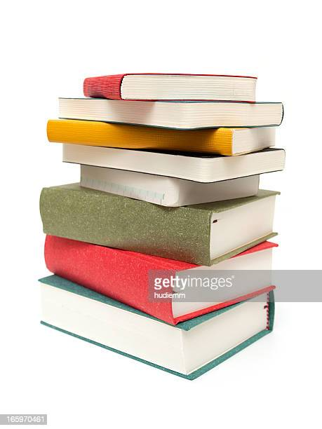 stack of books isolated on white background - stack stock photos and pictures