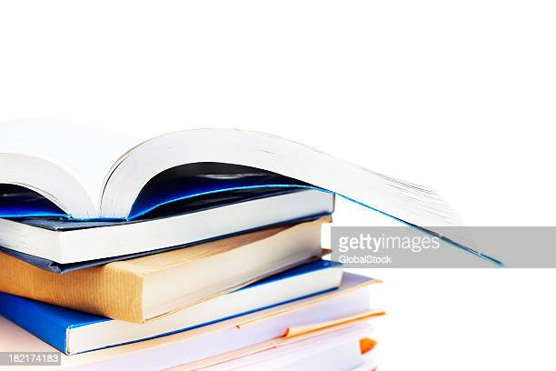 stack of books isolated on white - textbook stock pictures, royalty-free photos & images
