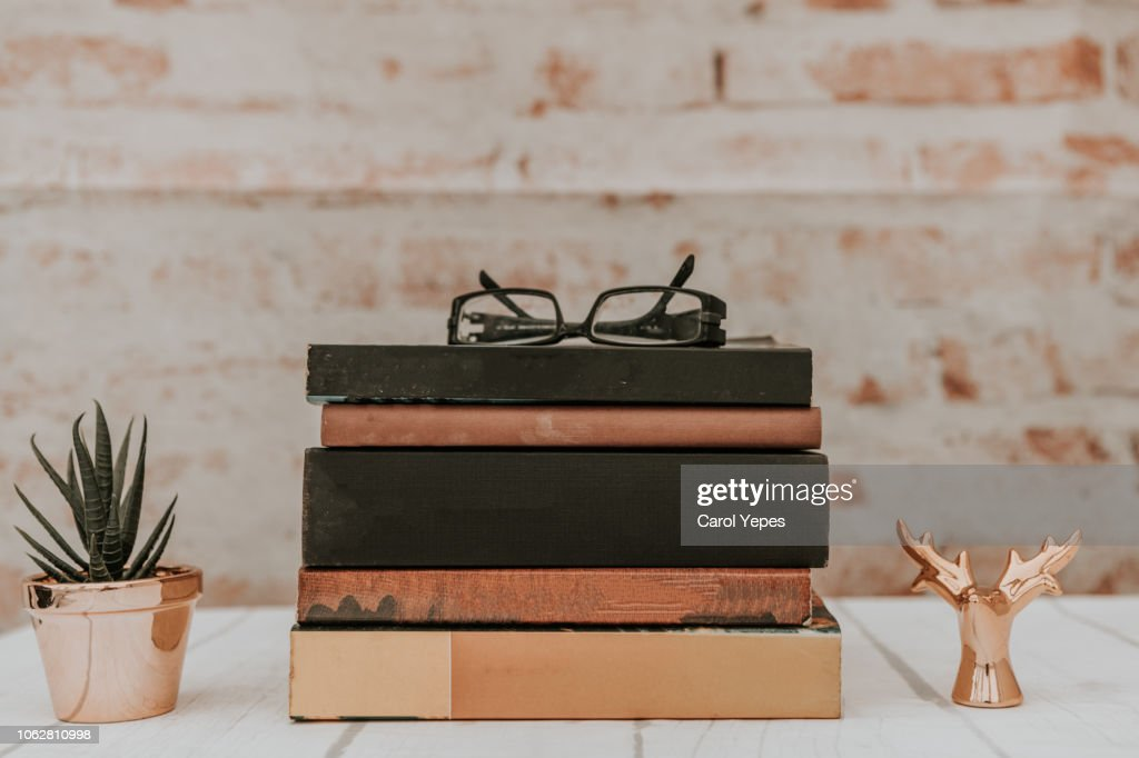 Stack of books on rustic background. Education concept. : Stockfoto