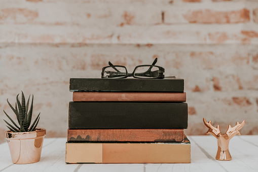 Stack of books on rustic background. Education concept. - gettyimageskorea