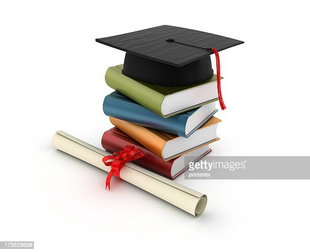 stack of books with graduation cap - cap stock pictures, royalty-free photos & images