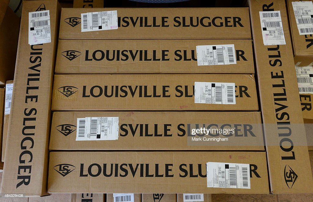 A stack of boxes of Louisville Slugger baseball bats waits to be unpacked during the Detroit Tigers Spring Training workouts at the TigerTown Facility on February 24, 2015 in Lakeland, Florida.
