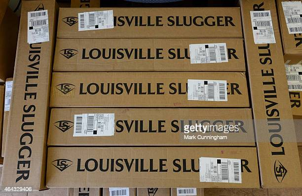 A stack of boxes of Louisville Slugger baseball bats waits to be unpacked during the Detroit Tigers Spring Training workouts at the TigerTown...