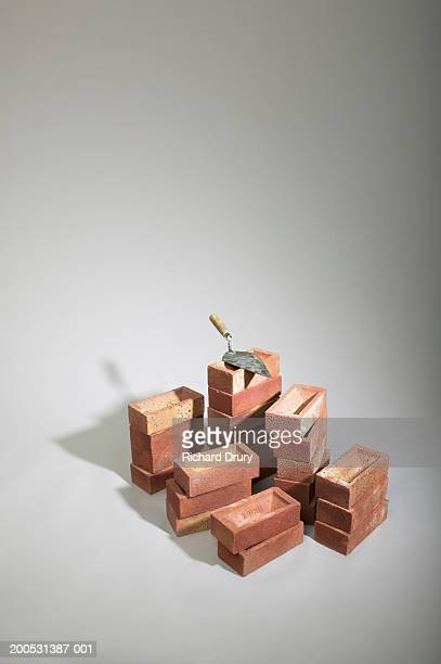 Stack of bricks and trowel