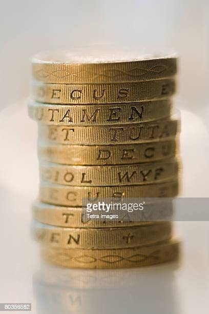 Stack of British Pound coins