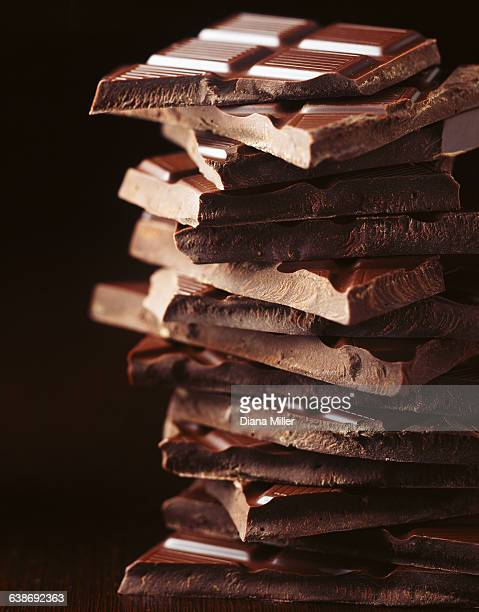 Stack of broken chocolate bars, close-up