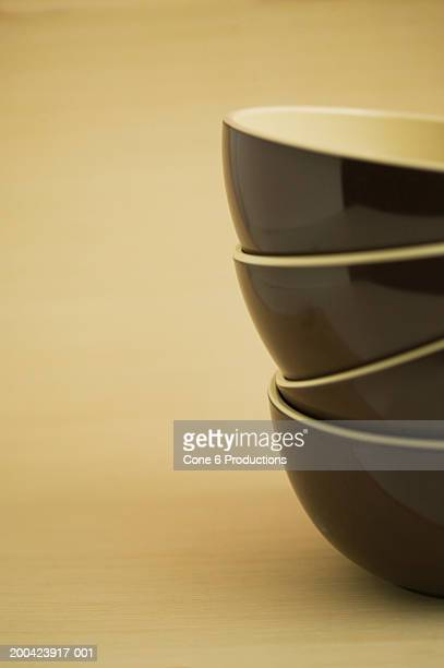 Stack of brown bowls