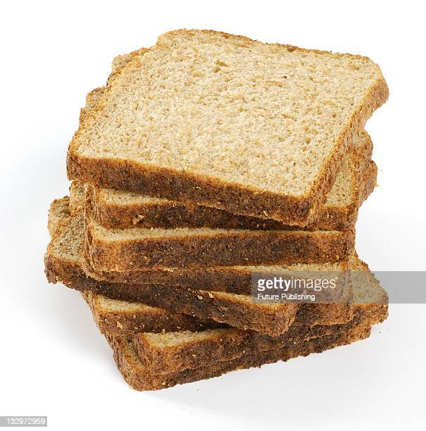 A stack of brown bread Studio shoot on April 22 United Kingdom