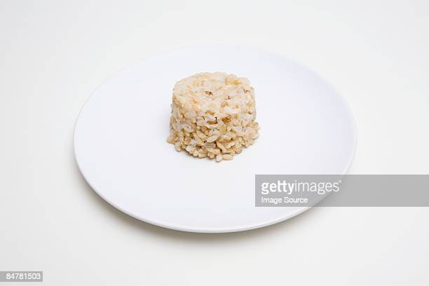 Stack of brown rice
