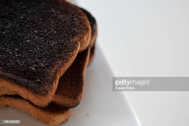 Stack of burnt toast