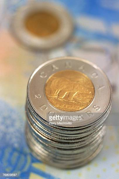 Stack of Canadian two dollar coins