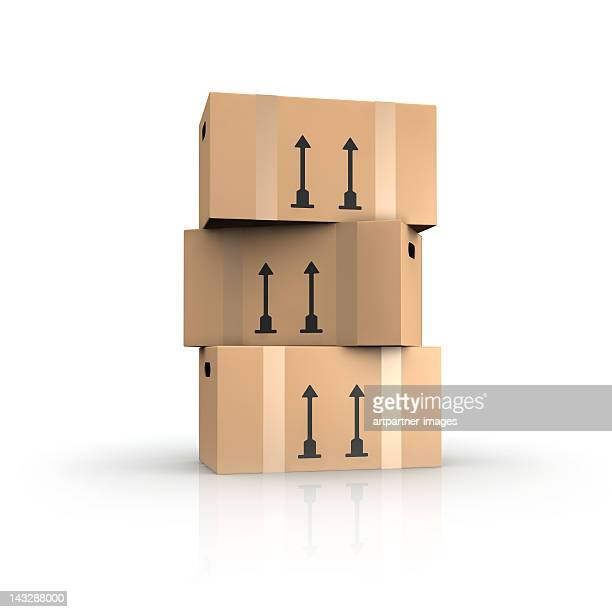 A stack of cardboard boxes on white
